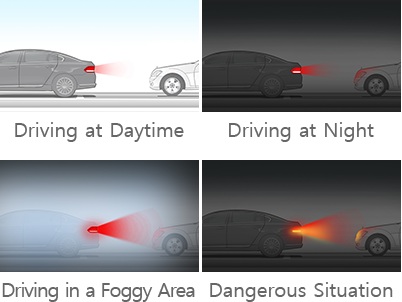 Driving at Daytime, Driving at Night, Driving in a Foggy Area, Dangerous Situation